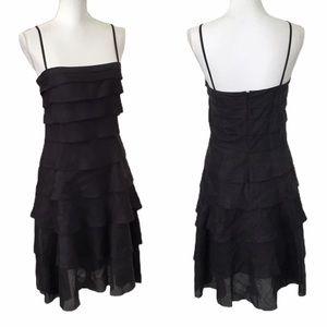 DKNY Tiered Black Spaghetti Strap Midi Dress Sz 6